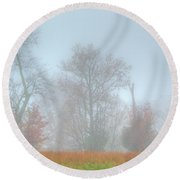 A Foggy Morning Round Beach Towel