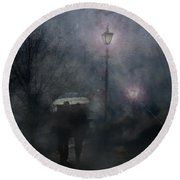 Round Beach Towel featuring the photograph A Foggy Night Romance by LemonArt Photography