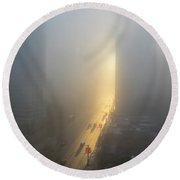 A Foggy Start To The Day In Vancouver Round Beach Towel