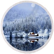 Round Beach Towel featuring the photograph A Foggy Winter Night by Diane Schuster