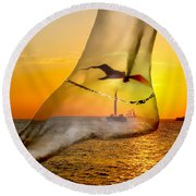 A Foot In The Sunset Round Beach Towel