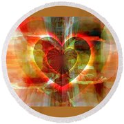 Round Beach Towel featuring the digital art A Forgiving Heart by Fania Simon