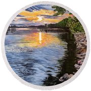 A Fraser River Sunset Round Beach Towel