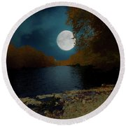 A Full Moon On A River. Round Beach Towel