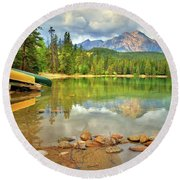 Round Beach Towel featuring the photograph A Gentle Light At Lake Annette by Tara Turner
