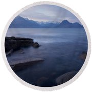 A Gentle Sunset At Elgol  Round Beach Towel