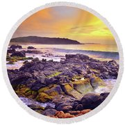 Round Beach Towel featuring the photograph A Gentle Wave At Sunset by Tara Turner