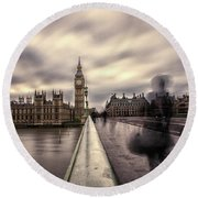 A Ghostly Figure Round Beach Towel by Martin Newman