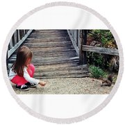 A Girl And A Squirrel Round Beach Towel