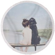 Bathing Beauties By Bruno Piglhein Round Beach Towel