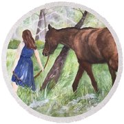 Round Beach Towel featuring the painting A Girl's Best Friend by Lucia Grilletto