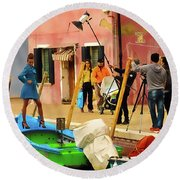 A Glamour Shoot In Burano Round Beach Towel