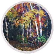 A Glance Of The Woods Round Beach Towel
