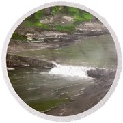 A Glimpse Of A Roadside Park Round Beach Towel by T Fry-Green