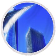 A Glimpse Of The Oculus - New York's Financial District Round Beach Towel