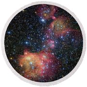 Round Beach Towel featuring the photograph A Glowing Gas Cloud In The Large Magellanic Cloud by Eso