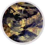 Round Beach Towel featuring the painting A Golden Moment by Nancy Kane Chapman
