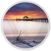 Round Beach Towel featuring the photograph A Good Morning by Edward Kreis