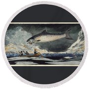 Round Beach Towel featuring the painting A Good Pool. Saguenay River by Winslow Homer