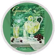 A Gourmet Cover Of Glassware Round Beach Towel by Hilary Knight