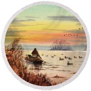 A Great Day For Duck Hunting Round Beach Towel by Bill Holkham