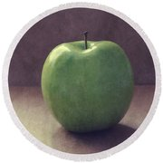A Green Apple- Art By Linda Woods Round Beach Towel