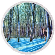 Round Beach Towel featuring the painting A Grove In Snow by Dave Luebbert