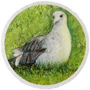 A Gull On The Grass Round Beach Towel by Laurie Morgan