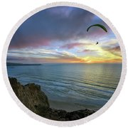A Hang Glider And A Sunset Round Beach Towel