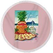 A Hawaiian Scene With Pineapple Slices Round Beach Towel