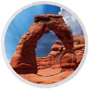 A Hawk At Delicate Arch, Arches National Park Round Beach Towel