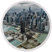 A Helicopter View Of Chicago's Lakefront Round Beach Towel