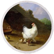 A Hen With Her Chicks Round Beach Towel by Eugene Joseph Verboeckhoven
