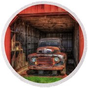 A Hiding Place 1949 Ford Pickup Truck Round Beach Towel by Reid Callaway