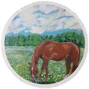 A Horse Named Dante Round Beach Towel