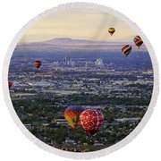 A Hot Air Ride To Albuquerque Cropped Round Beach Towel by Daniel Woodrum