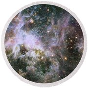 Round Beach Towel featuring the photograph A Hubble Infrared View Of The Tarantula Nebula by Nasa