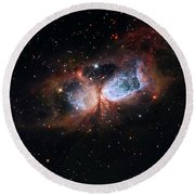 Round Beach Towel featuring the photograph A Composite Image Of The Swan by Nasa
