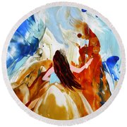 A Hula For You Round Beach Towel by Marionette Taboniar