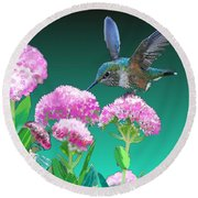 A Hummingbird Visits Round Beach Towel