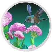 A Hummingbird Visits Round Beach Towel