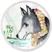 A Husky In Paradise Round Beach Towel