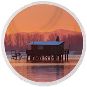 Round Beach Towel featuring the photograph A Hut On The Water by Davor Zerjav