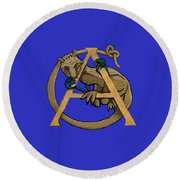 Round Beach Towel featuring the digital art A Is For Alphyn by Donna Huntriss