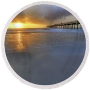 A Jacksonville Beach Sunrise - Florida - Ocean - Pier  Round Beach Towel by Jason Politte