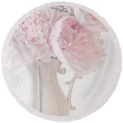 A Jug Of Soft Pink Peonies Round Beach Towel