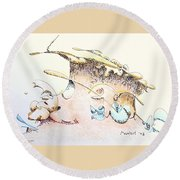 A Kiss For Baby Round Beach Towel
