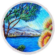 A La... Round Beach Towel