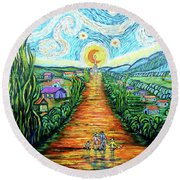 Round Beach Towel featuring the painting A La Vincent by Viktor Lazarev