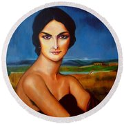 A Lady Round Beach Towel